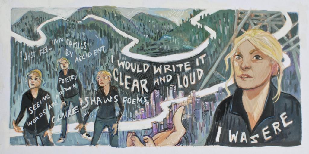 Seeing Poetry talk at Laydeez do comics Glasgow - as drawn by Tara Williamson